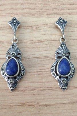 Brinco pedra azul com marcassita - Prata de Lei 925