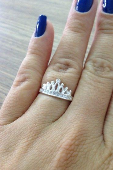 Anel de Coroa com Marcassita Clara - Prata de Lei 925