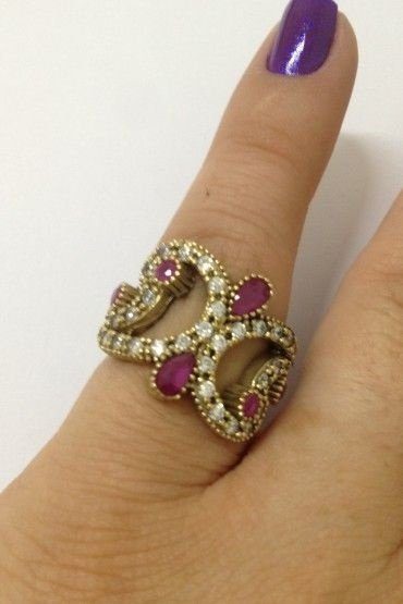 Anel Pedras Rosa - Prata Turca
