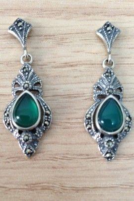 Brinco Pedra Verde - Prata de Lei 925