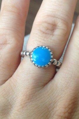 Anel Pedra Azul - Prata de Lei 925