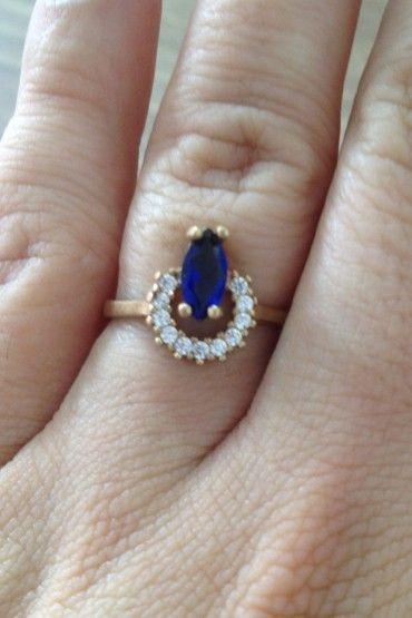 Anel Navete Pedra Azul - Prata Turca