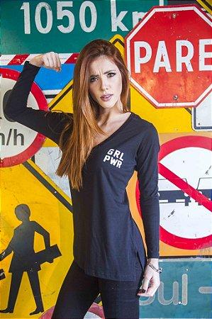 Camiseta Feminina Manga Longa Black GRL PWR