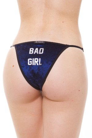 Calcinha Tanga String Veludo Azul Bad Girl