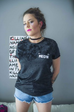 Tshirt Veludo Preto Meow