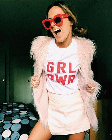 Camiseta Feminina Girl Power Branca/Vermelha