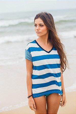 Camiseta Feminina Mix de LIstras Decote V