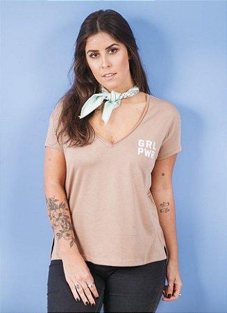Camiseta Feminina Girl Power Decote V Nude