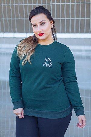 Moletom GRL PWR Minimalista Verde