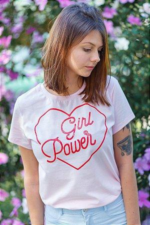 Camiseta Feminina Girl Power Vintage Rosa