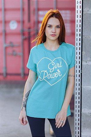 Camiseta Feminina Girl Power Vintage Verde