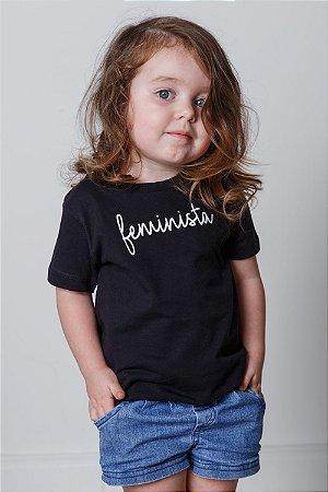 Camiseta Infantil Feminista Preta