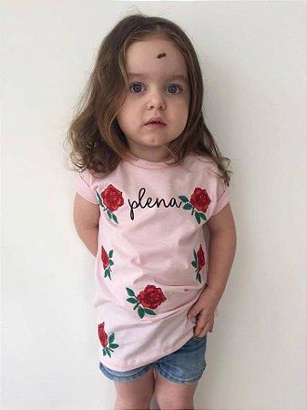 Camiseta Infantil Plena Bordada Rosa