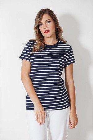 Camiseta Feminina Listrada Marinho