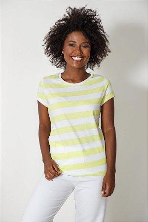 Camiseta Feminina Listrada Amarela
