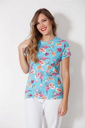Camiseta Feminina Hibisco Turquesa