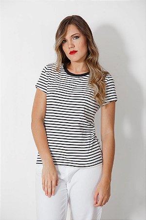 Camiseta Feminina Mini Listras Preta