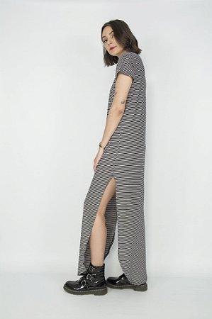 Vestido Longo Listrado Gola Preta