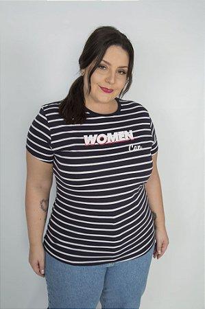 Camiseta Feminina Listrada Women Can