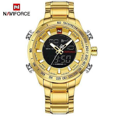 ab913888c0a49 Relogio Masculino Dourado Naviforce Dual Time NF9098M Aço Inoxidavel  Original Resistente a água 30MT Acompanha caixa