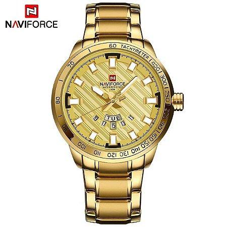 a66ddcdaefe Relogio Masculino Dourado Naviforce NF9090M Aço Inoxidavel Original  Resistente a água 30MT Acompanha caixa e manual