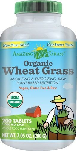 Wheat Grass(Grama do Trigo) Orgânica, Amazing Grass  - 200 Tablets