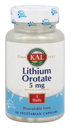 Litio Orotato Biodisponível, Kal, 5 mg - 60 cápsulas vegetais