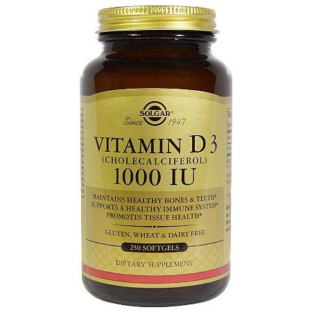 Vitamina D3,  Solgar, 1.000 IU - 250 Softgels
