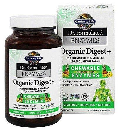 Enzimas Orgânicas Digestivas + Frutas Tropicais, Garden of Life - Dr. Formulated - 90 Chewables