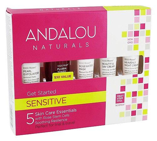 Kit inicial 1000 Roses, Sensitive, Andalou Naturals, Kit de 5 peças