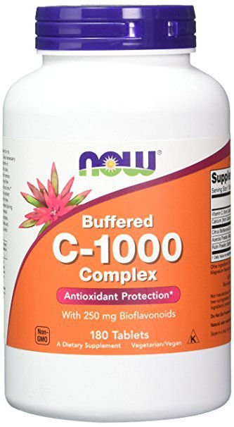 Buffered C-1000 Complex, Now Foods, 180 tabletes