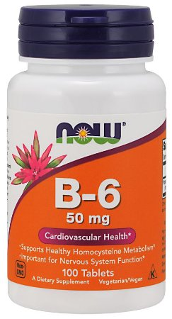 Vitamina B-6, 50 mg, 100 Tablets
