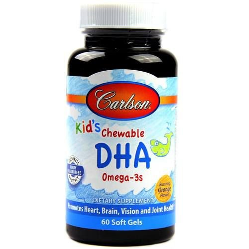 DHA para Crianças, Carlson Labs, sabor laranja - 60 softgels