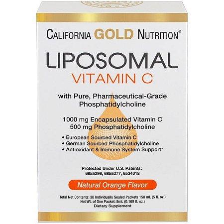 Vitamina C Lipossomal com Fosfatidilcolina Sabor Laranja Natural California Gold Nutrition - 30 Pacotes de 5 ml Cada