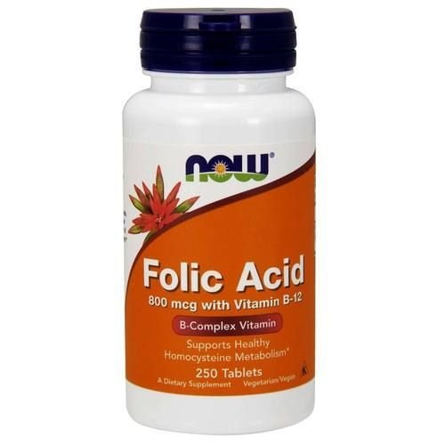 Ácido Fólico com Vitamina B-12, Now Foods, 800 mcg, 250 Tablets
