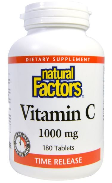 Vitamina C Citrus Bioflavonoids, Time Release, Natural Factors, 1000 mg, 180 Tablets