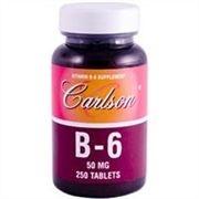 Vitamina B-6 (Piridoxina), Labs Carlson, 50 mg, 250 tabletes