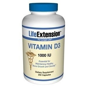 Vitamina D3, Life Extension, 1.000 IU, 250 Capsules