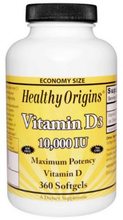 Vitamina D3, Healthy Origins, 10.000 UI, 360 Softgels
