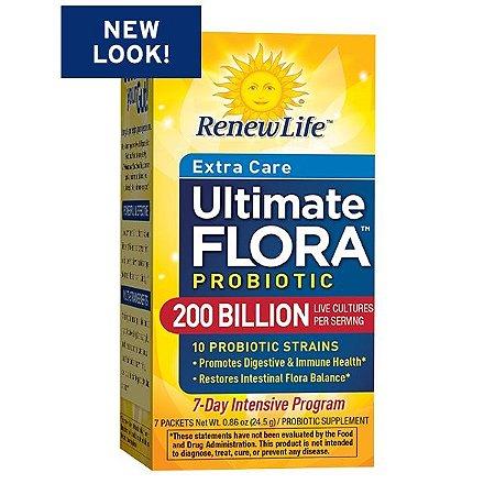 Ultimate Flora, Super Critical, 200 bilhões, Máximo Apoio Probiótico, Renew Life, 7 pacotes, 0,8 onça (23,1 g) Cada