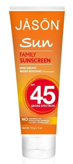 Protetor Solar Natural para a Família, Jason Natural, FPS 45, 4 oz (113 g)