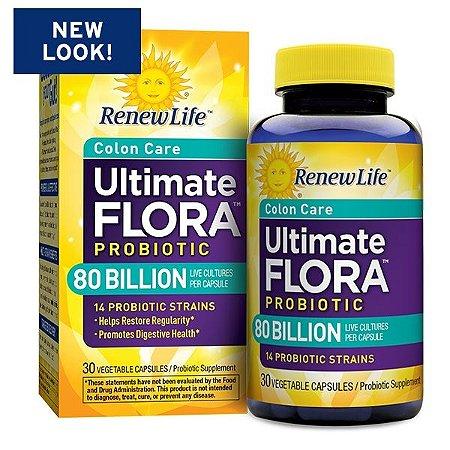 Ultimate Flora, Critical Colon, Bifido Max, 80 Bilhões, Renew Life, 30 Veggie Caps