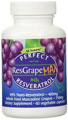 Resveratrol Max - 99% Trans-Resveratrol, Uvas Muscadine Orgânicas - 60 Caps