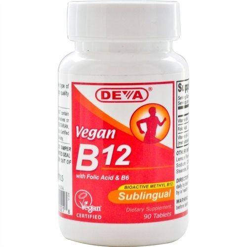 B12 Vegana Sublingual, Deva, 1.000mcg, 90 Tablets