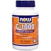 Vitamina C Buffered, C-1000, de libertação prolongada, Now Foods, 180 comprimidos