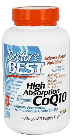 CoQ10 de Alta Absorção com BioPerine, Doctor's Best, 400 mg, 180 Vegetarian Capsules