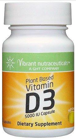 Vitamina D3 Vegana, Base de Plantas, Vibrant Nutraceuticals, 5000 IU, 60 Capsules