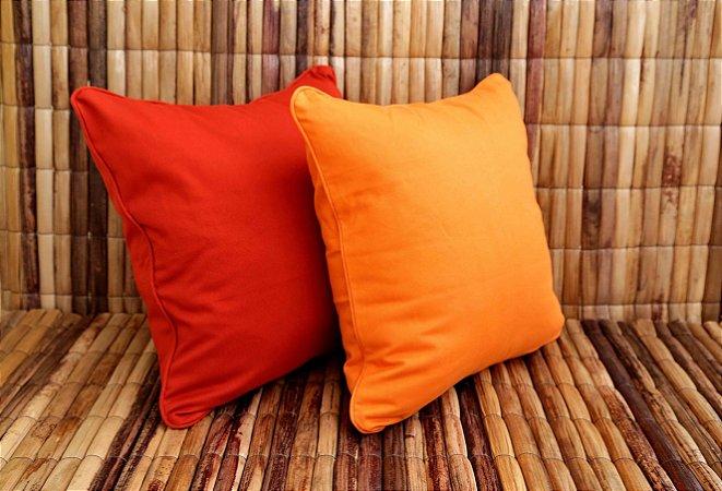 Almofada de Sarja Conjunto Duplo Vermelha e laranja