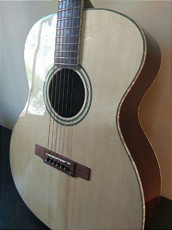 Violão Acústico Aço Luthier Amorim Tampo Maciço e Tarraxas Schaller