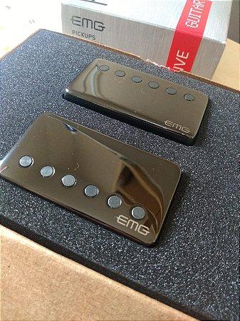 Kit Captador para guitarra Emg 57/66 Tw Humbucker Ativo Black Chrome